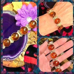 Baltic cognac amber/sterling silver bracelet